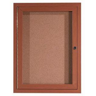 "Aarco ODCCO3624R 1 Door Outdoor Enclosed Bulletin Board with Aluminum Wood-Look Oak Finish  36"" x 24"""
