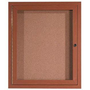 "Aarco ODCCO3630R 1 Door Outdoor Enclosed Bulletin Board with Aluminum Wood-Look Oak Finish  36"" x 30"""