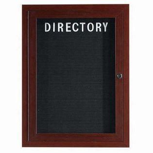 "Aarco OADCWW2418R 1 Door Outdoor Enclosed Directory Board with Aluminum Wood-Look Walnut Finish   24"" x 18"""