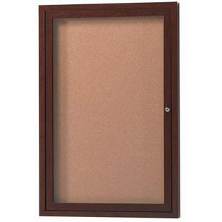 "Aarco ODCCWW2418R 1 Door Outdoor Enclosed Bulletin Board with Aluminum Wood-Look Walnut Finish 24"" x 18"""