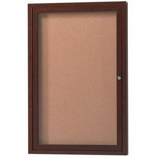 "Aarco ODCCWW3624R 1 Door Outdoor Enclosed Bulletin Board with Aluminum Wood-Look Walnut Finish  36"" x 24"""