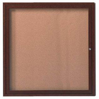 "Aarco ODCCWW3630R 1 Door Outdoor Enclosed Bulletin Board with Aluminum Wood-Look Walnut Finish  36"" x 30"""