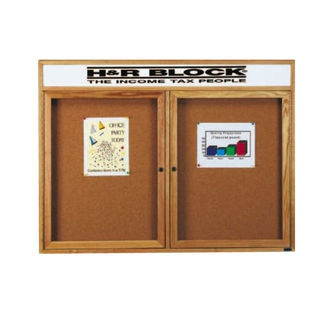 Aarco RHI4836RH Removable Letter Panel for Enclosed Red Oak Bulletin Board with Header 48