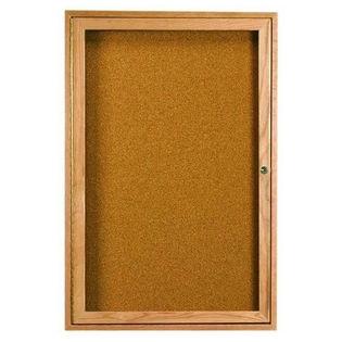 Aarco WBC2418R 1 Door Enclosed Bulletin Board with Walnut Finish 24