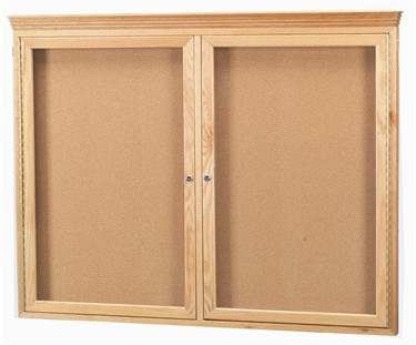 Aarco WBC3624RC 1 Door Enclosed Bulletin Board with Crown Molding and Walnut Finish 36