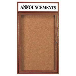 Aarco WBC3624RH 1 Door Enclosed Bulletin Board with Header and Walnut Finish 36