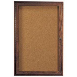 Aarco WBC4836R 1 Door Enclosed Bulletin Board with Walnut Finish 48