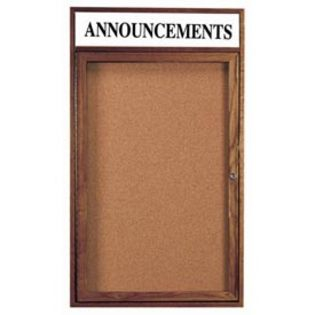Aarco WBC4836RH 1 Door Enclosed Bulletin Board with Header and Walnut Finish 48