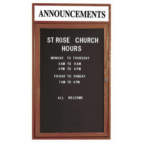 Aarco WDC3624H 1 Door Enclosed Changeable Letter Board with Walnut Finish and Header 36