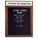 Aarco WDC3630H 1 Door Enclosed Changeable Letter Board with Walnut Finish and Header36