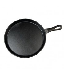 Winco IGL-10 Round Cast Iron Grill Pan with Black Coating 10""