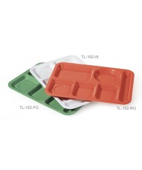 "GET Enterprises TL-152-FG Rainforest Green Left Hand 6 Compartment ABS School Tray, 10""x 14""(1 Dozen)"