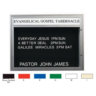 Aarco DBM3343W Double Sided Illuminated Community Board with Header, Red Powder Finish 33' x 43'