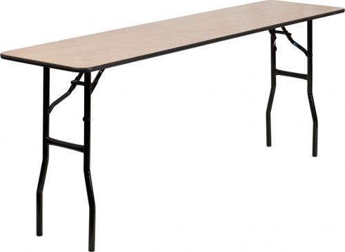 Flash Furniture  18'' x 72'' Rectangular Wood Folding Training / Seminar Table with Smooth Clear Coated Finished Top [YT-WTFT18X72-TBL-GG]