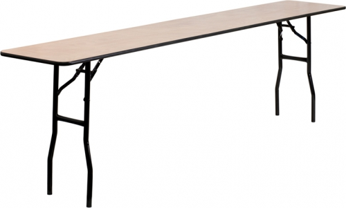 Flash Furniture  18'' x 96'' Rectangular Wood Folding Training / Seminar Table with Smooth Clear Coated Finished Top [YT-WTFT18X96-TBL-GG]
