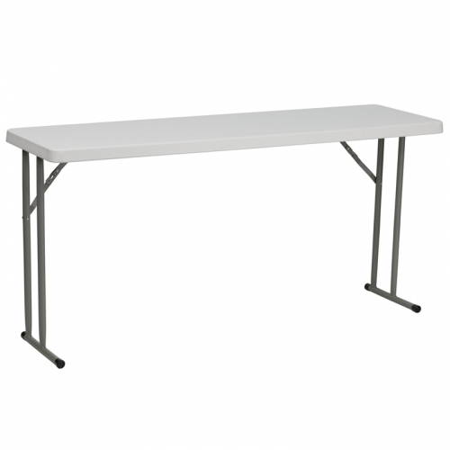 Flash Furniture  18''W x 60''L Granite White Plastic Folding Training Table [RB-1860-GG]