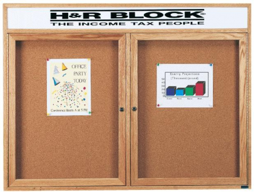 Aarco CBC3648RH 2 Door Enclosed Bulletin Board with Cherry Finish and Header 36