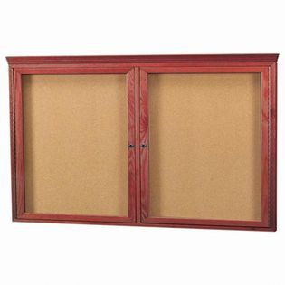 Aarco CBC3660RC 2 Door Enclosed Bulletin Board with Crown Molding and Cherry Finish 36