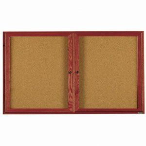 Aarco CBC3672R 2 Door Enclosed Bulletin Board with Cherry Finish 36