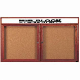 Aarco CBC3672RH 2 Door Enclosed Bulletin Board with Cherry Finish and Header 36
