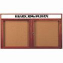 Aarco CBC4860RH 2 Door Enclosed Bulletin Board with Cherry Finish and Header 48
