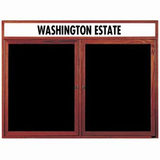 Aarco CDC3648H 2 Door Enclosed Changeable Letter Board with Cherry Finish and Header36