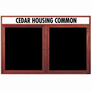 Aarco CDC3660H 2 Door Enclosed Changeable Letter Board with Cherry Finish and Header36
