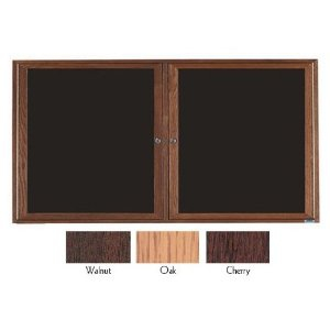 Aarco CDC3672 2 Door Enclosed Changeable Letter Board with Cherry Finish 36