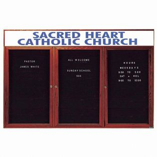 Aarco CDC3672-3H 2 Door Enclosed Changeable Letter Board with Cherry Finish and Header36