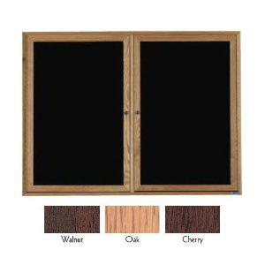 Aarco CDC4872 2 Door Enclosed Changeable Letter Board with Cherry Finish 48