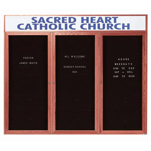 Aarco CDC4872-3H 2 Door Enclosed Changeable Letter Board with Cherry Finish and Header 48