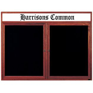 Aarco CDC4872H 2 Door Enclosed Changeable Letter Board with Cherry Finish and Header 48