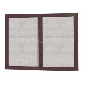 "Aarco ODCC3648RBA 2 Door Outdoor Enclosed Bulletin Board with Bronze Anodized Aluminum Frame 36"" x 48"""