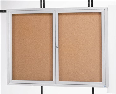"Aarco ODCC3660R 2 Door Outdoor Enclosed Bulletin Board with Aluminum Frame 36"" x 60"""