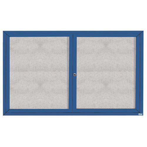 "Aarco ODCC3660RB 2 Door Outdoor Enclosed Bulletin Board with Blue Powder Coated Aluminum Frame 36"" x 60"""