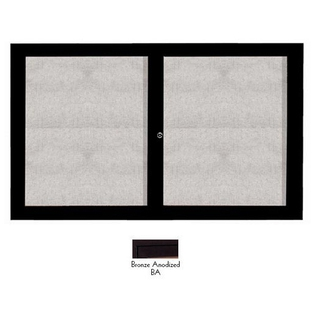 "Aarco ODCC3660RBA 2 Door Outdoor Enclosed Bulletin Board with Bronze Anodized Aluminum Frame 36"" x 60"""