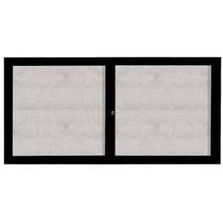 """Aarco ODCC3672RBK 2 Door Outdoor Enclosed Bulletin Board with Black Powder Coated Aluminum Frame 36"""" x 72"""""""