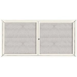 "Aarco ODCC3672RW 2 Door Outdoor Enclosed Bulletin Board with White Powder Coated Aluminum Frame 36"" x 72"""
