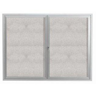 "Aarco ODCC4860R 2 Door Outdoor Enclosed Bulletin Board with Aluminum Frame 48"" x 60"""