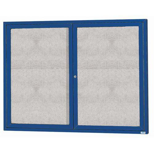 """Aarco ODCC4860RB 2 Door Outdoor Enclosed Bulletin Board with Blue Powder Coated Aluminum Frame 48"""" x 60"""""""