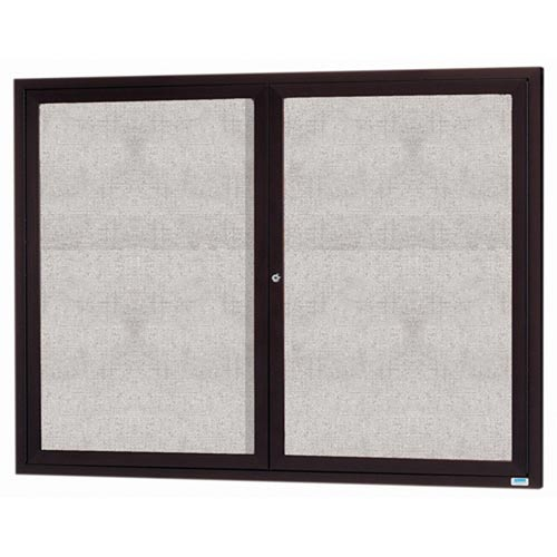 "Aarco ODCC4860RBA 2 Door Outdoor Enclosed Bulletin Board with Bronze Anodized Aluminum Frame 48"" x 60"""