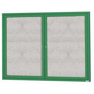 "Aarco ODCC4860RG 2 Door Outdoor Enclosed Bulletin Board with Green Powder Coated Aluminum Frame 48"" x 60"""