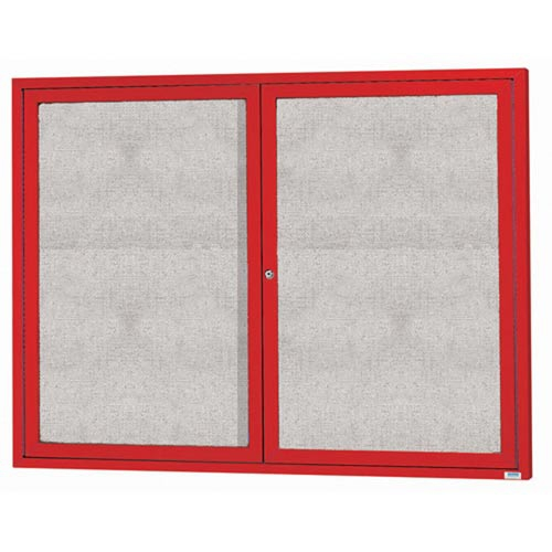 "Aarco ODCC4860RR 2 Door Outdoor Enclosed Bulletin Board with Red Powder Coated Aluminum Frame 48"" x 60"""