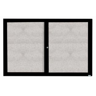 """Aarco ODCC4872RBK 2 Door Outdoor Enclosed Bulletin Board with Black Powder Coated Aluminum Frame 48"""" x 72"""""""