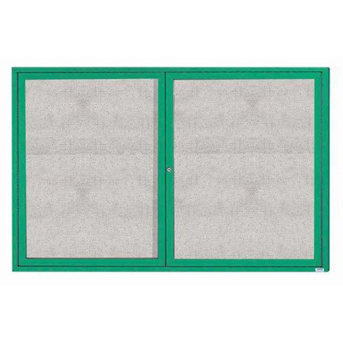 "Aarco ODCC4872RG 2 Door Outdoor Enclosed Bulletin Board with Green Powder Coated Aluminum Frame 48"" x 72"""