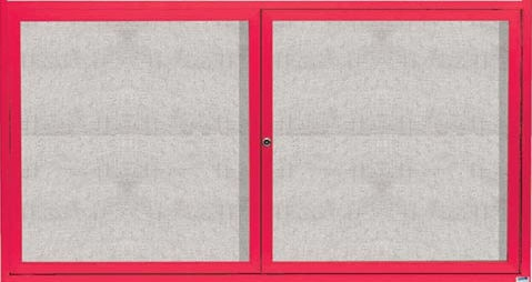 "Aarco ODCC4872RR 2 Door Outdoor Enclosed Bulletin Board with Red Powder Coated Aluminum Frame 48"" x 72"""