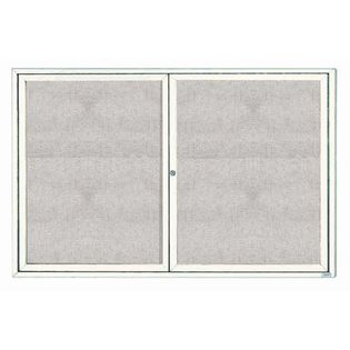 "Aarco ODCC4872RW 2 Door Outdoor Enclosed Bulletin Board with White Powder Coated Aluminum Frame 48"" x 72"""