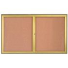 Aarco WFC3660G 2 Door Enclosed Bulletin Board with Waterfall Style Aluminum Frame - Gold Brass Finish 36