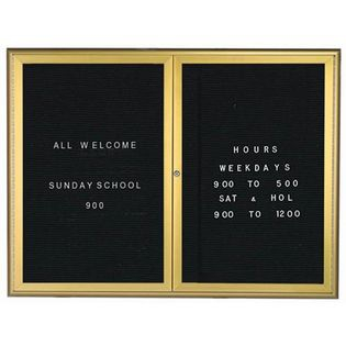 Aarco WFD3648G 2 Door Enclosed Directory Board with Waterfall Style Aluminum Frame - Gold Brass Finish  36