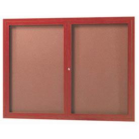 Aarco DCCW3648R 2 Door Indoor Enclosed Bulletin Board with Aluminum Wood-Look Cherry Finish 36